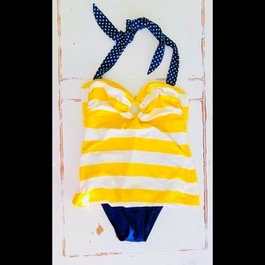 Tommy Hilfiger striped one piece swimsuit large